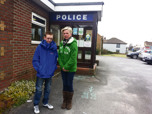 Concerned resident Claire Jenkins with her son Macauley on the site of the existing police station