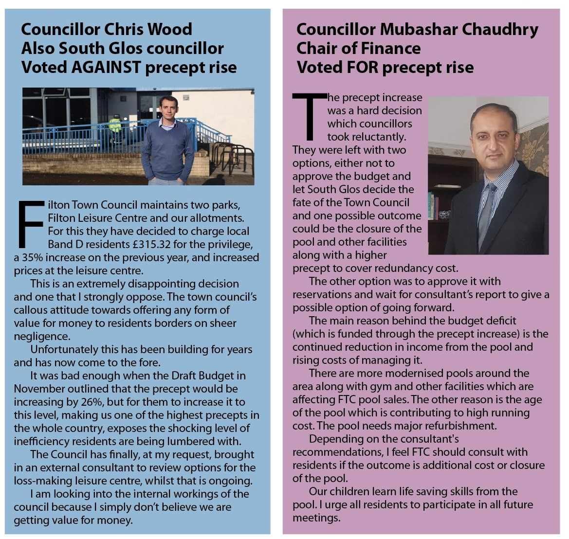 Opposing views - councillors explain their vote on precept